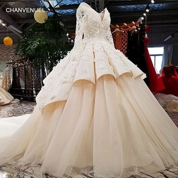 LS13037 real picture original full long sleeves two layers skirt big puffy v neck beanding tassel 3D flowers wedding dress 2018