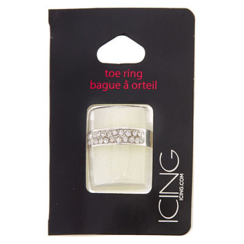 Silver Pave Crystal Toe Ring
