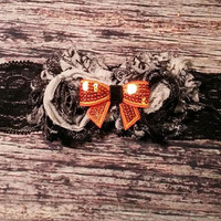 Black and Shabby Flowers and Orange Sequin Bow on Black Lace Baby Girl Headband!