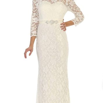 May Queen - Lace Illusion Bateau Sheath Mother of the Bride Dress