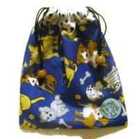 Drawstring Pouch/ Dog Treat Bag/ Dogs/Blue