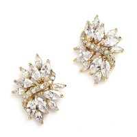 Gold CZ Cluster Earrings with Marquis Stones