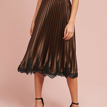 Pleated Laced-Hem Skirt