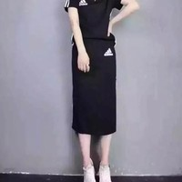 """Adidas"" Sport Casual Simple Stripe V-Neck Short Sleeve Skirt Set Two-Piece Sportswear"