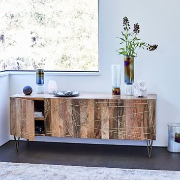 "Roar + Rabbit™ Brass Geo Inlay Media Console (68"")"