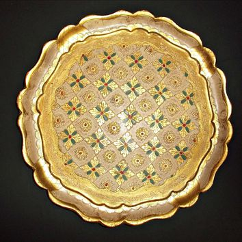 Vintage Florentine Gold Gilt Round Tray with Red Green Accents