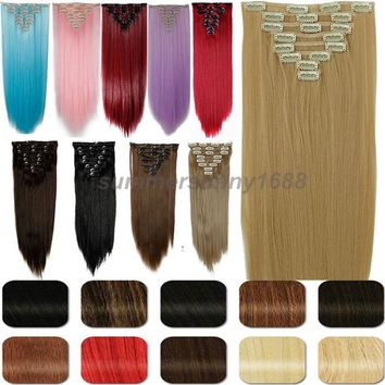S-noilite 8Pcs Long 26 inches Straight Full Head Clip in on Hair Extensions real Synthetic Black Brown Blonde Red Pink Purple