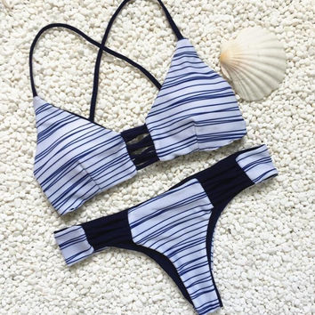 New Summer Sexy Women bikini Stripe pattern swimsuit Hollow Out Swimwear -0711