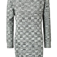 Checked Pattern Long Sleeve Sweater