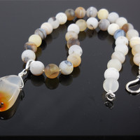 Sterling Silver Montana Agate Necklace