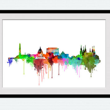 Washington DC skyline poster, Washington DC watercolor cityscape print, office decor, home decoration, colorful gift, wall hanging art, W120