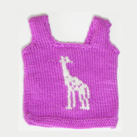 Knitted baby vest sweater with Giraffe pattern