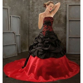 Black Red Victorian Gothic Wedding Dresses Strapless Princess Winter Ball Gown Bridal Dress Abiti da Sposa Principessa