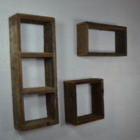 Reclaimed wood shadow box wall shelves set of 3 country style handcrafted in the USA