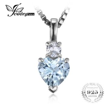 JewelryPalace Heart Love 0.8ct Natural Aquamarine White Topaz Pendant 925 Sterling Silver Pendant Fine Jewelry Statement Jewelry