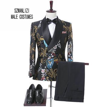 2017 New Elegant Brand Wedding Mens Suit Flower Double Breasted Suit For Men Slim Fit Groom Tuxedo Blazer Costume Homme Mariage