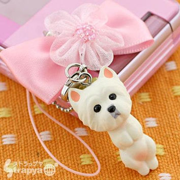 Pet Lovers mini tam Dog Beads Cell Phone Strap (Westy with Pink Ribbon)- 123-940805
