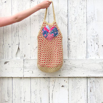 Boho Summer Purse , upcycled hobo market tote , natural fibers tan , heart hippie purse recycled bag , nautical eco friendly by wearlovenow