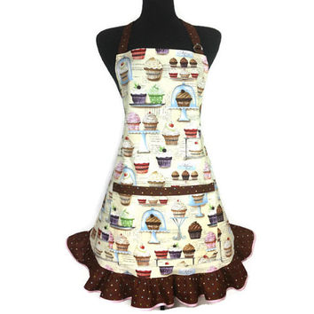 Cupcake Apron for Women , Retro Bakery Decor , Adjustable with Pocket and Chocolate Polka Dot Ruffle