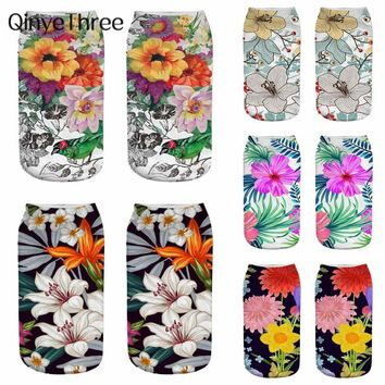 New 3D Flower Printing Women Low Cut Ankle Socks Funny Aliens Printed Sock Cotton Hosiery Gothic Sox Creative Plant Oil Painting