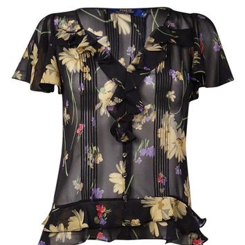 Polo Ralph Lauren Women's Printed Ruffled & Pintucked Silk Blouse