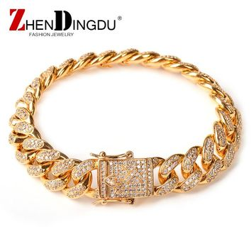 Men's Zircon Curb Cuban Link Bracelet Hip hop Jewelry