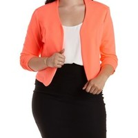 Plus Size Ruched Sleeve Open Front Blazer