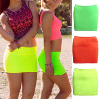Women plain Seamless Stretch Tight Sexy Bodycon Mini Skirt Short Pencil Dress*W*