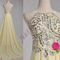 Long Yellow Stunning Beaded Crystal Prom Dresses,Backless Homecoming Dresses,Long Evening Dresses,Bridesmaid Dresses