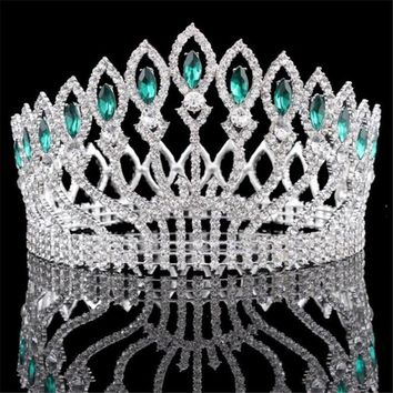 Cool Baroque Diadem Rhinestone Queen King Bride Tiara Crown Jewelry Headdress Bridal Wedding Tiaras and Crowns Hair AccessoriesAT_93_12
