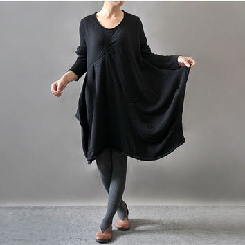 Women autumn and winter long sleeve sweater loose dress