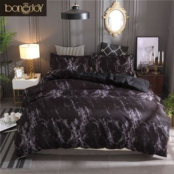 Bonenjoy Bedding Set Queen Size Black Marble Printed Reactive ropa de cama Bed Set Single Linens For Adult Double Bedding Sets