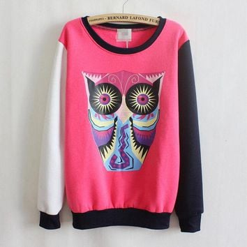 DCCKI2G Owl cartoon round neck sweater