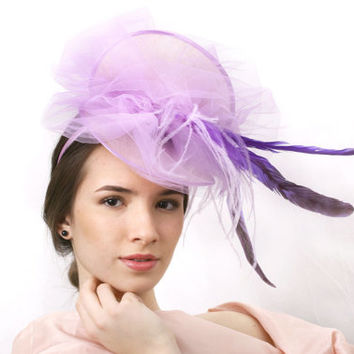 Ascot hat FREE SHIPPING! Light purple Royal Ascot Hat,Lavender lilac Kentucky derby Fascinator, purple Wedding headpiece, Haute couture hat