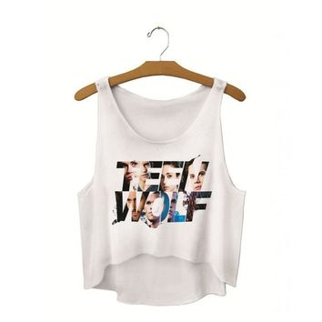 Running Vests Jogging Teen Wolf Letter Crop Tank Tops Sleeveless Crew Neck s Summer Active Loose Fit Short Vest Feminino White Basic Camis KO_11_1