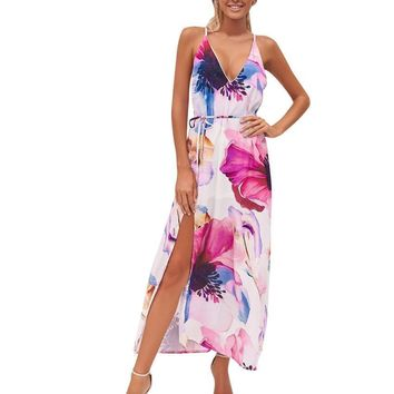 Women Sexy Floral Printed V-Neck Backless Lace-up Split Hem Beachwear Long Dress Bohemian style ladies Sheath dresses vestidos