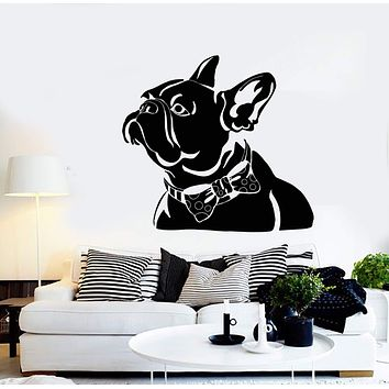 Vinyl Wall Decal Abstract Pet French Bulldog Bow Tie House Animal Stickers (2663ig)