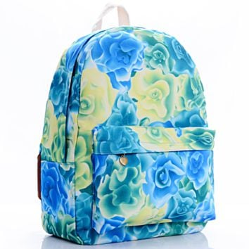 Flower Printed Canvas Backpack College School Bag Travel Daypack