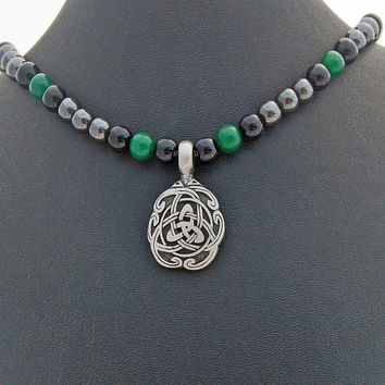 Mens Steel Celtic Knot Onyx Hematite Aventurine Necklace, BoyFriend Jewelry, Mens Accessory, Dad Fathers Day Gift, Mans Irish Knot Pendant