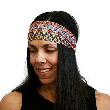 exercise headband tribal print workout gear workout headband yoga accessories hairbands for women spandex headband colorful fabric turban