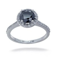 Vir Jewels 10K White Gold Black Diamond Engagement Ring (1.50 CT) In Size 8