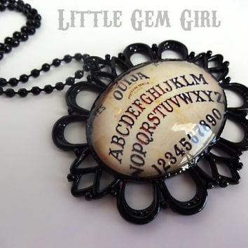 Vintage Style Ouija Board Necklace - Large Black Metal Victorian Setting with 24 inch Black Plated Ball Chain