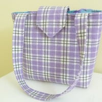 Rain Girl Designs — Lavender Plaid Wool Tote Bag Style Purse Shoulder Bag