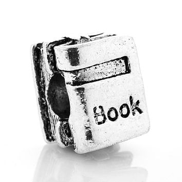 New Silver Plated Bead Charm European Vintage Cute Study Book Beads Fit Women Pandora Bracelet Bangle DIY Jewelry HKC0284