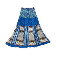Mogulinterior Long Patchwork Skirt Blue Floral Printed Hippie Boho Peasant Maxi Skirts for Womens