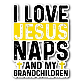 """Jesus and Naps"" Car Window Sticker"