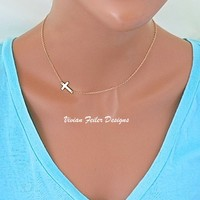 14K Gold Sideways Cross Necklace Off Center Side Cross Jennifer - Vivian Feiler Designs | Wedding