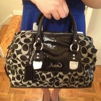 Coach Signature Ashley Sabrina Duffle Satchel Bag Purse Tote 15443 Black White
