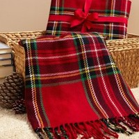 Stewart Red Tartan Oversized Wool Blend Woven Throw 50