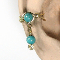 14k gold filled Dangle Ear Cuff Turquoise Dyed Howlite or 56 Choices